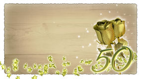 Verjaardagsconcept met gouden rozen en ster Royalty-vrije Stock Afbeelding