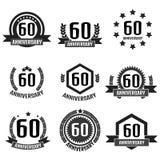 Verjaardagsembleem zestigste Verjaardag 60 Vector illustratie Royalty-vrije Stock Afbeelding