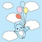 Verjaardagsillustratie met leuke blauwe hond en ballons op hemelachtergrond Royalty-vrije Stock Afbeeldingen