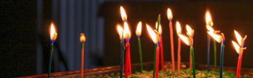 Verjaardagskaarsen Royalty-vrije Stock Foto's