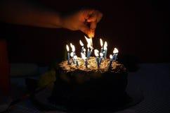 Verjaardagskaarsen royalty-vrije stock foto
