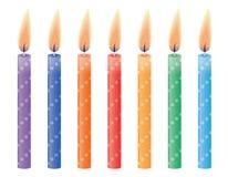 Verjaardagskaarsen. Vectorillustratie. Stock Afbeelding