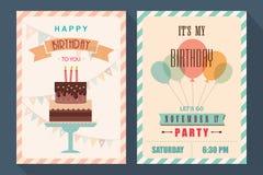 Verjaardagskaart en uitnodigingsreeks Stock Afbeelding