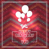 Verjaardagskaart met ballons in de stijl van vlakte Royalty-vrije Stock Foto
