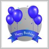 Verjaardagskaart met ballons en verjaardagstekst Stock Foto's