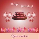 Verjaardagskaart met cake, boog en ballons Royalty-vrije Stock Afbeeldingen