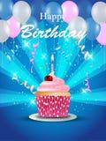 Verjaardagskaart met cupcake Stock Afbeelding