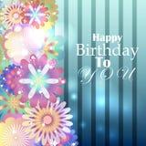 Verjaardagskaart met gestripte blauwe achtergrond en bloemenelementen Royalty-vrije Stock Afbeeldingen
