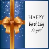 Verjaardagskaart met gouden lint Stock Foto's