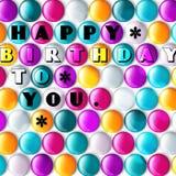Verjaardagskaart met kleurensuikergoed en tekst Stock Foto's