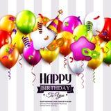 Verjaardagskaart met kleurrijke krullende linten Royalty-vrije Stock Afbeeldingen