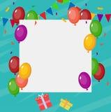 Verjaardagskaart met leeg teken Stock Fotografie