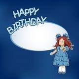 Verjaardagskaart met meisje Stock Fotografie