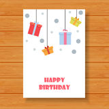 Verjaardagskaart op houten achtergrond Stock Foto