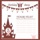 Verjaardagskaart voor weinig prinses Stock Afbeeldingen