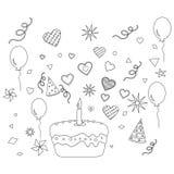 Verjaardagspartij en een cake, contour Royalty-vrije Stock Afbeeldingen