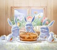 Verjaardagspartij met een smakelijke cake Royalty-vrije Stock Fotografie