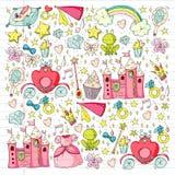 Verjaardagspartij in prinsesstijl Vectorreeks verschillende elementen voor meisjes verpakkend document, behang vector illustratie