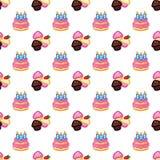 Verjaardagspatroon Verjaardagscake met kaarsen voor vieringspartij, cake, banketbakkerij cupcakes Gebeurtenis, viering royalty-vrije illustratie