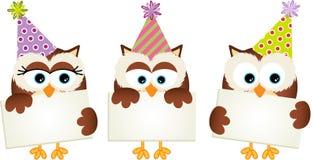 Verjaardagsuilen met uithangborden Stock Foto's