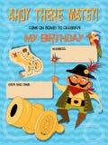 Verjaardagsuitnodiging met een piraat Stock Foto