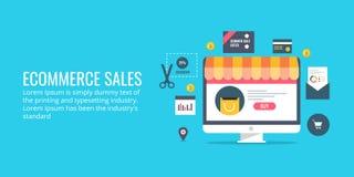 Verkäufe des elektronischen Geschäftsverkehrs - on-line-Geschäft - Produktverkauf Flaches Designvektorkonzept lizenzfreie abbildung