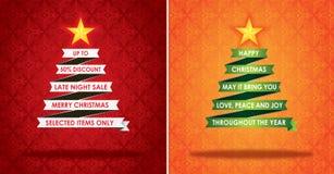 Verkäufe, die Fahne und Weihnachtsgruß-Karte vermarkten Lizenzfreies Stockbild