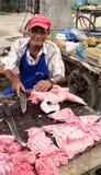 Verkäufer des Fleisches in Kolumbien Stockbild