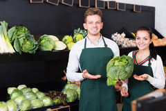 Verkäufer des jungen Mannes und der Frau, die Zusammenstellung anzeigen Lizenzfreie Stockbilder