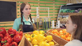 Verkäufer verständigt sich mit Käufer, spricht über Produkte im Gemüseshop stock video footage