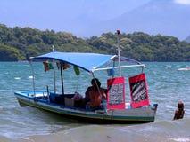 Verkäuferboot auf dem Strand stockbild