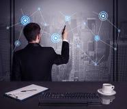 Verkäuferzeichnungsstrategie bei der Bürositzung Stockfotografie