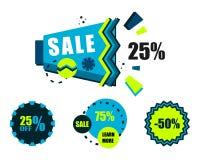 Verkauf Aufkleber und Schablonen für Rabatte Stockbilder