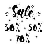 VERKAUF 30%, 50%, 70% AUS- Hand gezeichneter Beschriftungskartenhintergrund lizenzfreie abbildung