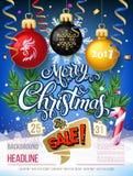 Verkauf 2017 der frohen Weihnachten große Vektorbeschriftung auf blauem Hintergrund stock abbildung