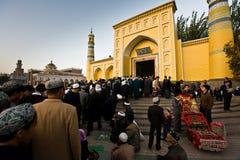 Verkauf der Gebetteppiche Moschee an der Identifikation-Kah Lizenzfreie Stockbilder