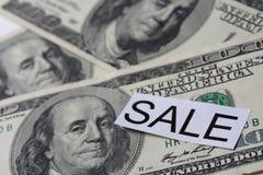 Verkauf des Geldes Stockfotos