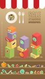 Verkauf des Gemüses infographic Stockbild