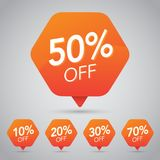 10%, 15% 20%, 25%, 30%, 35%, 45%, 50%, 65%, 70% Verkauf, Diskette, weg auf nettem orange Tag für das Vermarkten des Kleinelement- Lizenzfreies Stockfoto