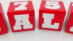 Verkauf fünfundsiebzig Prozentkonzept auf roten Würfeln lizenzfreie abbildung