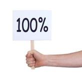 Verkauf - Hand, die Seufzer hält, der 100% sagt Lizenzfreie Stockbilder