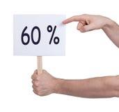Verkauf - Hand, die Seufzer hält, der 60% sagt Stockfoto