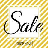Verkauf im weißen Quadrat auf goldenem Weiß streift Hintergrund lizenzfreie abbildung