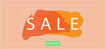VERKAUF Landungsseiten-Netz-Fahnen-minimale Art mit Pastellfarbvektor-Schablone lizenzfreie stockfotos