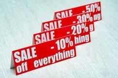 Verkauf oben Stockfoto
