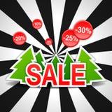 Verkauf, Rabatt, neues Jahr, Weihnachtsbaum, Vektor Lizenzfreie Stockbilder