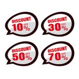 Verkauf Rabatt-Preise Spracheaufkleberaufkleberrabatt 10% 30% stock abbildung