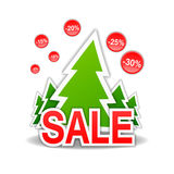 Verkauf, Rabatt, Weihnachtsbaum, Vektor Lizenzfreie Stockfotografie