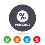 Verkauf - Sale in German sign icon. Star. Verkauf - Sale in German sign icon. Star with percentage symbol. Round colourful buttons with flat icons. Vector Royalty Free Stock Photo