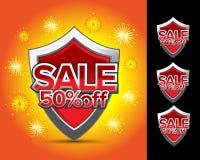 Verkauf schirmt 50% weg ab Verkauf schirmt 20% weg ab Verkauf schirmt 30% weg ab Verkauf schirmt 40% weg vom Emblem ab Kamm-Schil Lizenzfreies Stockfoto
